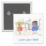 Robot del amor pin cuadrado