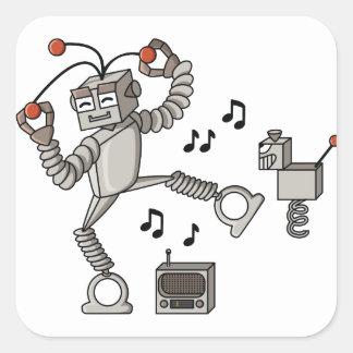 Robot del baile calcomania cuadrada personalizada