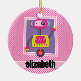 Robot del chica; Rayas rosadas y blancas Adorno Navideño Redondo De Cerámica