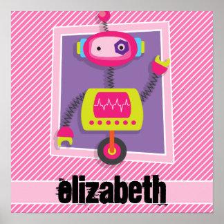 Robot del chica; Rayas rosadas y blancas Póster