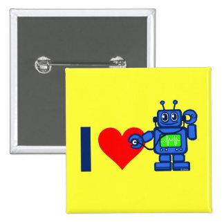Robot del corazón I Pin Cuadrada 5 Cm