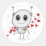 Robot del corazón - pegatinas pegatina redonda