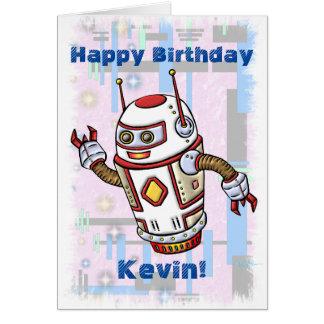 Robot del cumpleaños tarjeta de felicitación