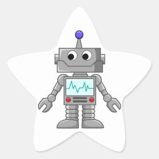 Robot del dibujo animado pegatina en forma de estrella