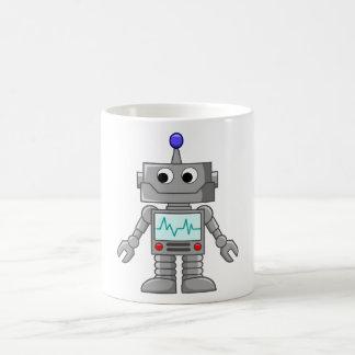 Robot del dibujo animado taza de café