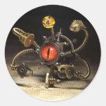 Robot del espectador de Steampunk Pegatina Redonda