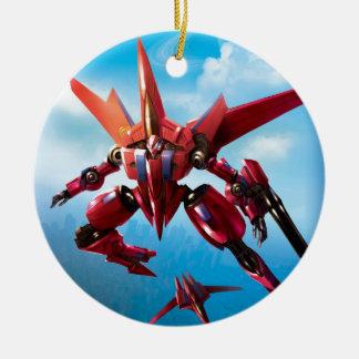 robot del jet adorno navideño redondo de cerámica