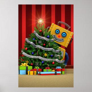 Robot del juguete de las Felices Navidad Póster