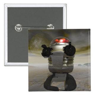 Robot del juguete en un botón extranjero del plane pins
