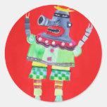 ROBOT del PAYASO QUE HACE JUEGOS MALABARES - arte Pegatina Redonda
