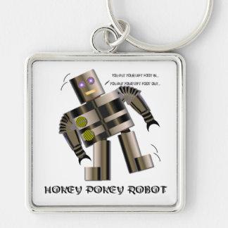 Robot del Pokey de Hokey Llavero Cuadrado Plateado