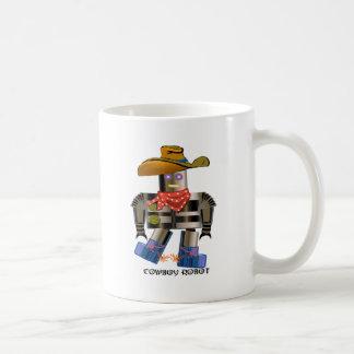 Robot del vaquero taza básica blanca