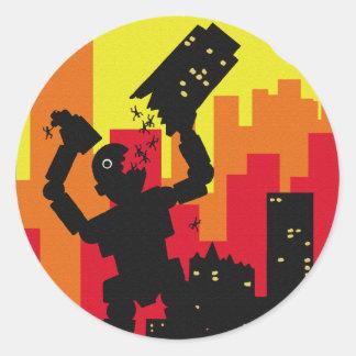 Robot Destroy Classic Round Sticker