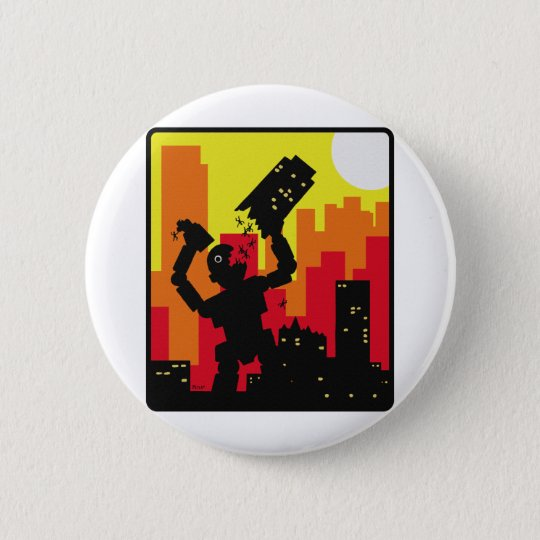 Robot Destroy Pinback Button