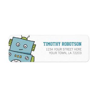 Robot dibujado mano azul linda etiqueta de remitente
