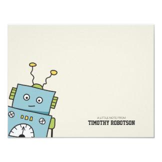 "Robot dibujado mano azul linda invitación 4.25"" x 5.5"""