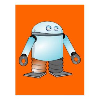 Robot divertido del dibujo animado postales