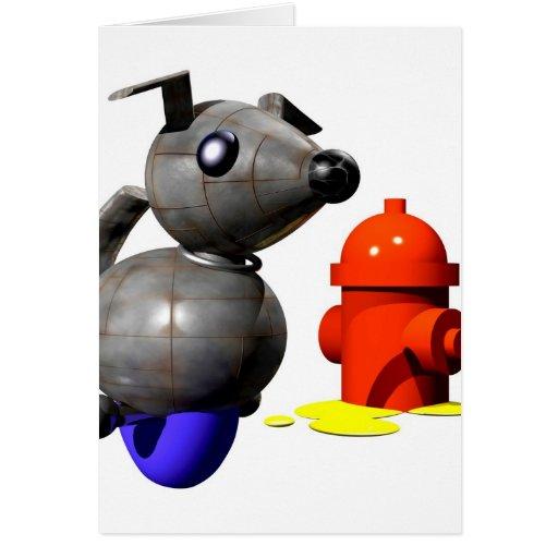 ROBOT DOG PEEING GREETING CARD
