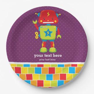 Robot * elija el color de fondo platos de papel