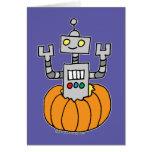 Robot en calabaza felicitación