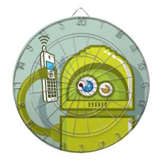 Robot en el icono del vector del teléfono