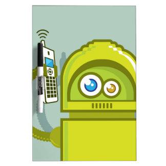 Robot en el icono del vector del teléfono pizarras