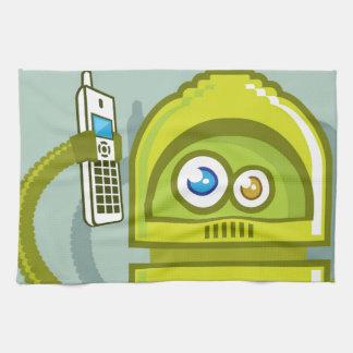 Robot en el icono del vector del teléfono toalla