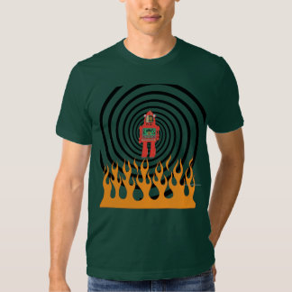 robot en espiral llameante, la camisa de los