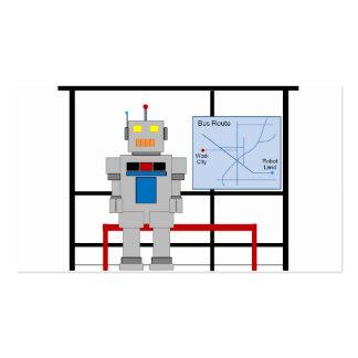 Robot en una parada de autobús tarjetas de visita