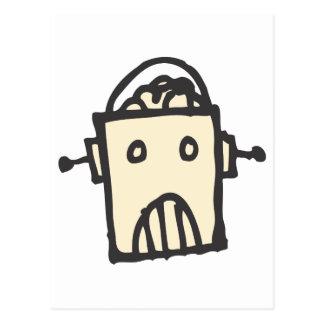 Robot enojado con el cerebro postales