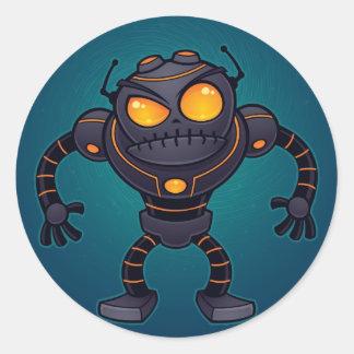 Robot enojado pegatina redonda