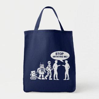 Robot evolution tote bags