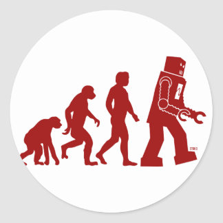 Robot Evolution - from man into robots Classic Round Sticker