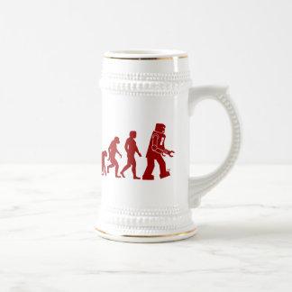 Robot Evolution of man into robot 18 Oz Beer Stein