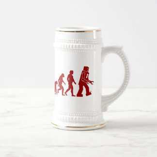 Robot Evolution of man into robot Beer Stein