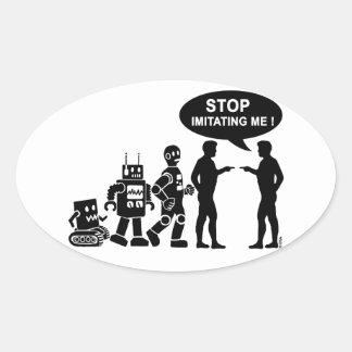 Robot evolution oval sticker