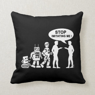 Robot evolution throw pillow