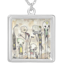 Robot Farm Silver Plated Necklace