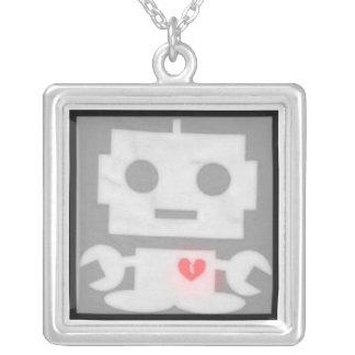 Robot feelings square pendant necklace
