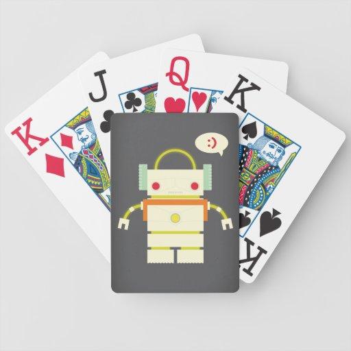 Robot feliz barajas de cartas