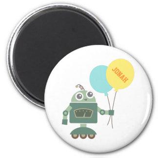 Robot feliz con los globos para los niños iman de nevera