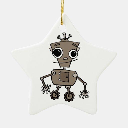 Robot feliz adorno de cerámica en forma de estrella