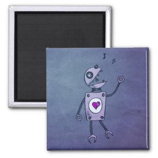 Robot feliz del canto imán cuadrado
