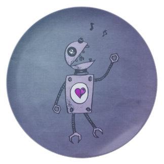 Robot feliz del canto plato