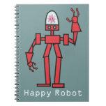 Robot feliz libros de apuntes