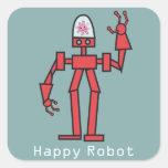 Robot feliz pegatina cuadrada