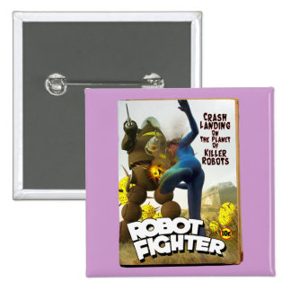 Robot Fighter Fake Pulp Cover 2 Button