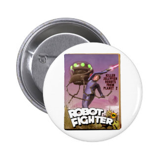 Robot Fighter Fake Pulp Cover Button
