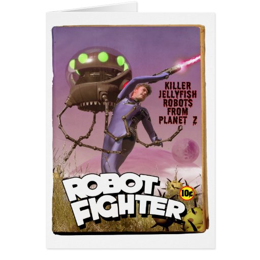 Robot Fighter Fake Pulp Cover Card