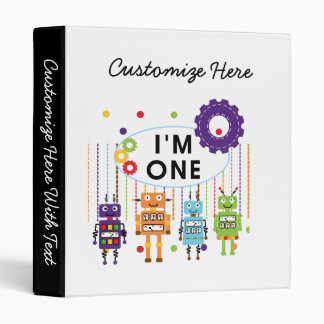 Robot First Birthday Tshirts and Gifts 3 Ring Binder
